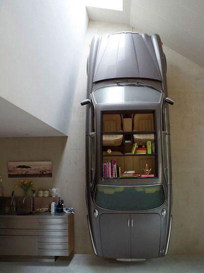 upcycle repurpose ingenious bookshelf ideas... jaguar bookshelf Like, Comment, Repin !!!