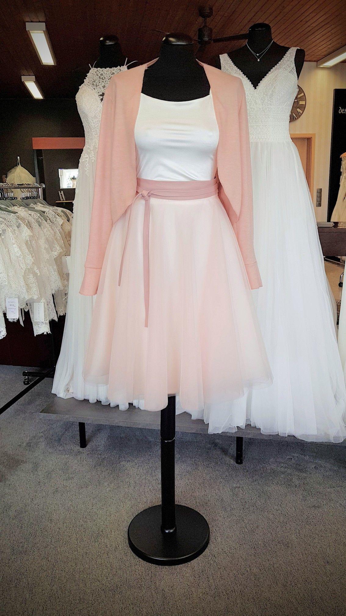 Zweiteiliges Standesamt Kleid Tüllrock & Jerseytop mit ...