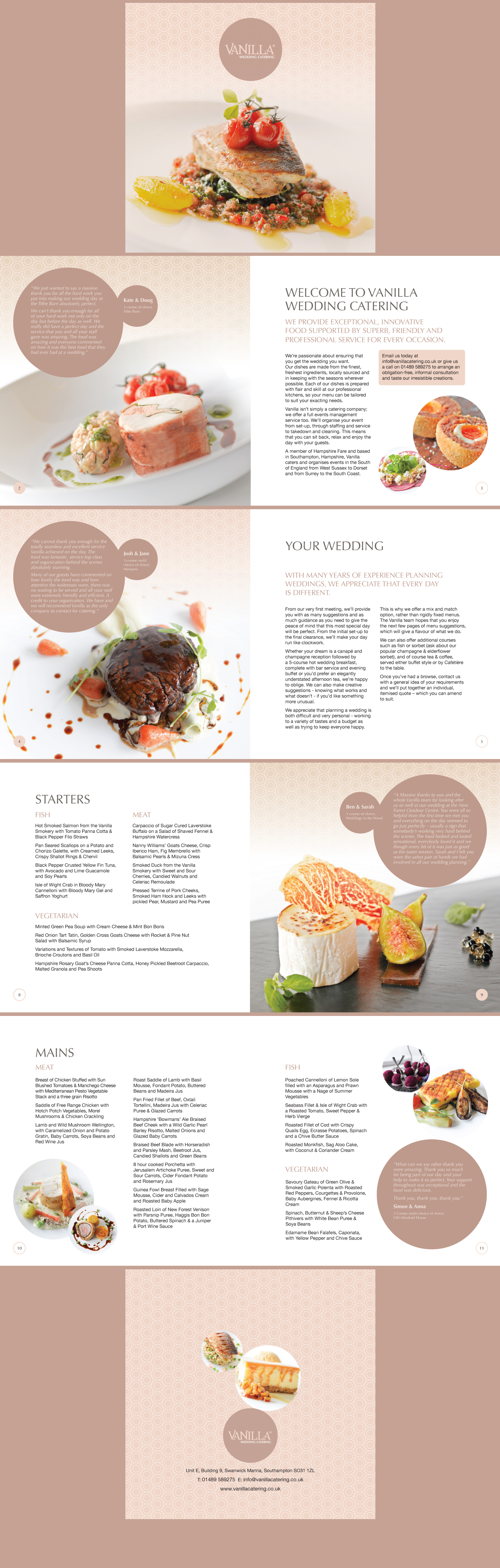 Vanilla s new Wedding Catering brochure layout  Designed by www     Vanilla s new Wedding Catering brochure layout  Designed by  www trampolinedesign net
