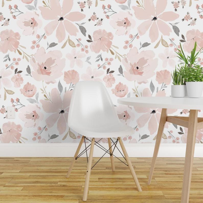 Dark Floral Mural Wallpaper Remove Peel And Stick Wallpaper Etsy Large Floral Wallpaper Girl Nursery Wallpaper Mural Wallpaper