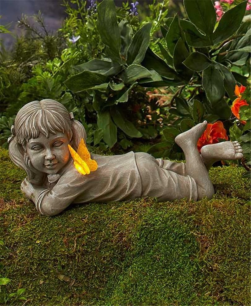 Nostalgic Daydreaming Boy Or Girl Garden Statue With Solar Frog Or Butterfly