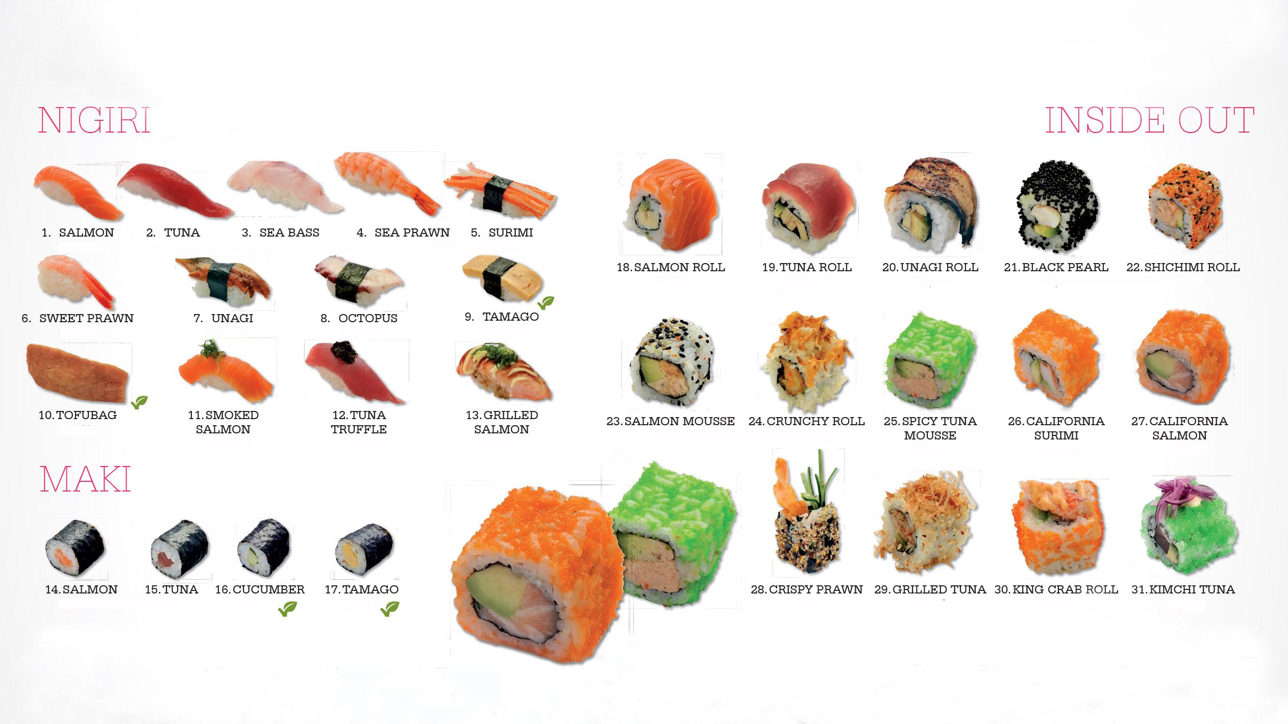 Sushi nigiri, Sushi maki, Sushi inside out maki ...