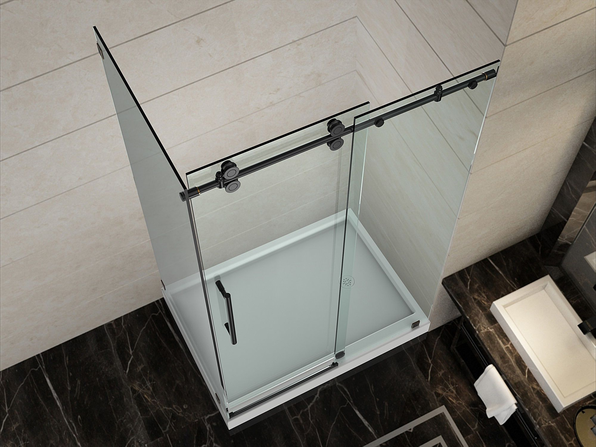 Sen979 Langham Completely Frameless Sliding Shower Door Enclosure