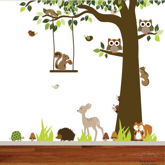 Kindergarten vinyl wall decal aufkleber wald wald tier hirsch fuchs igel eichhörnchen