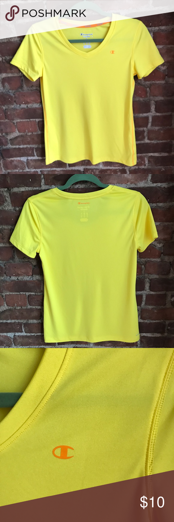 Champion Workout Tee Champion workout tee. Bright yellow! Worn a handful of times, very good condition. Champion Tops Tees - Short Sleeve