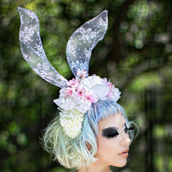 Lace Rabbit ears  bunny  white rabbit alice in by SpoiledCherry