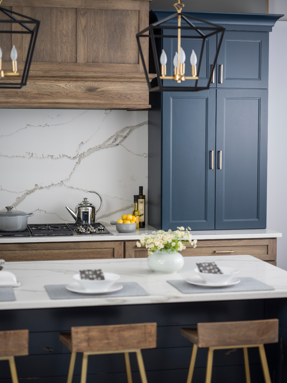 Hickory Blue Modern Farmhouse Kitchen With Blue Kitchen Island Farmhouse Kitchen Gr In 2020 Kitchen Cupboard Colours Blue Kitchen Island Alder Kitchen Cabinets