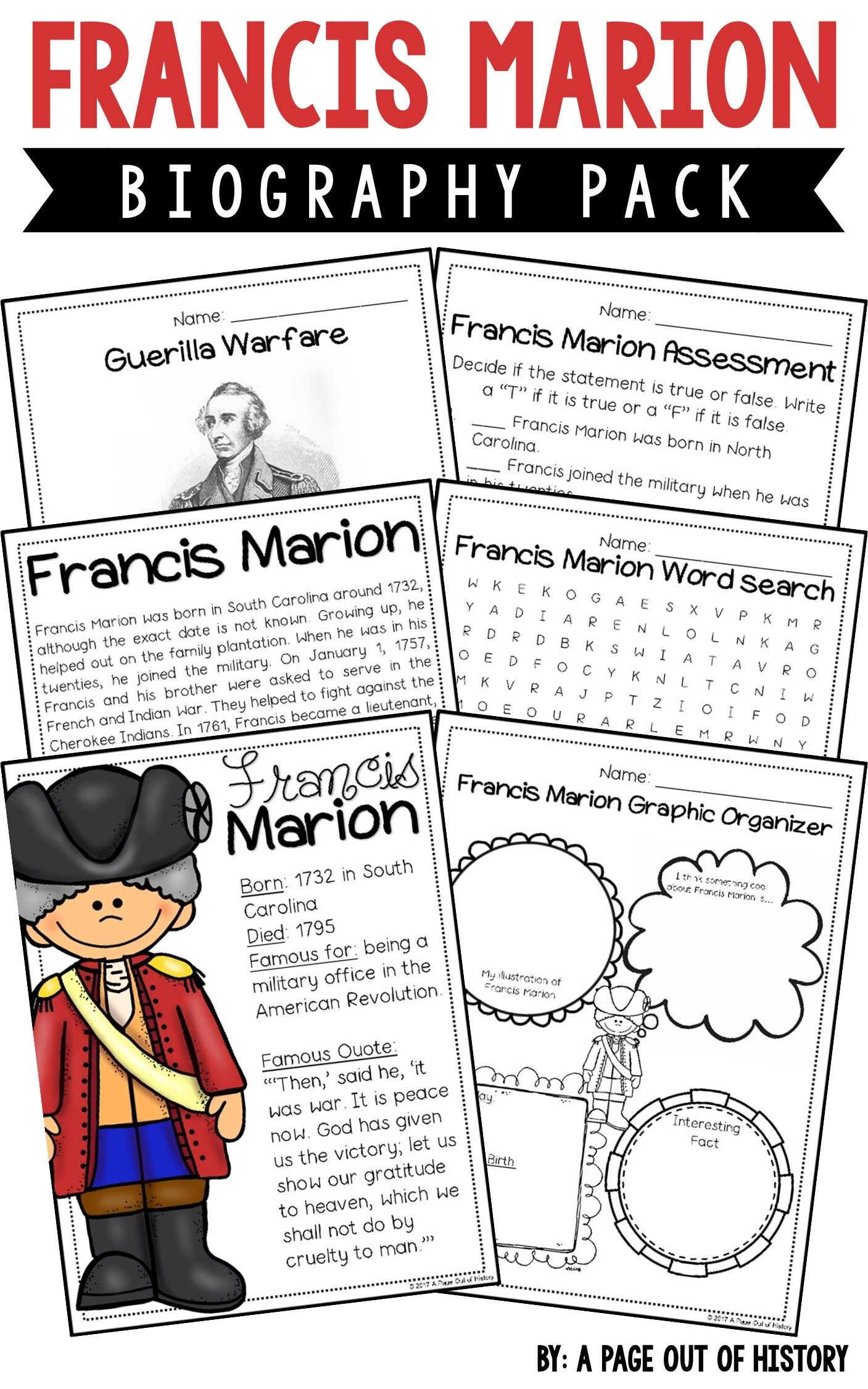 Francis Marion Biography Pack Revolutionary Americans