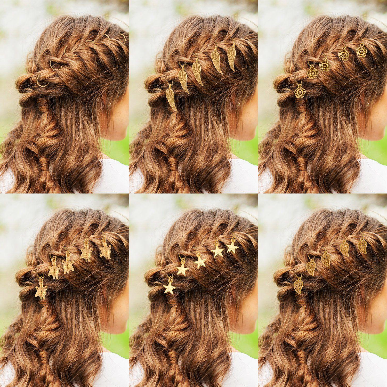 TecUnite 120 Pieces Hair Braid Rings Metal