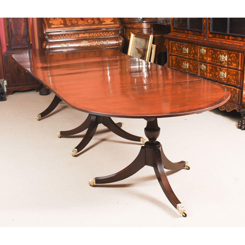 Antique Regency Revival Mahogany 3 Pillar Dining Table 19th