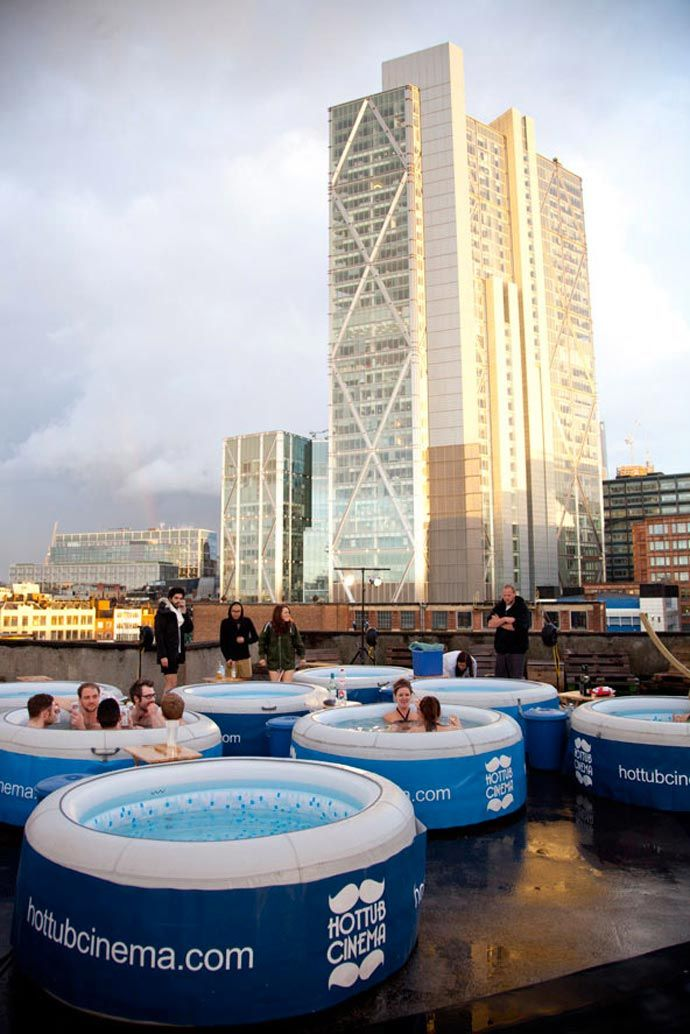 HOT TUB ROOFTOP CINEMA AT THE ROCKWELL HOUSE IN LONDON   Open cinema ...
