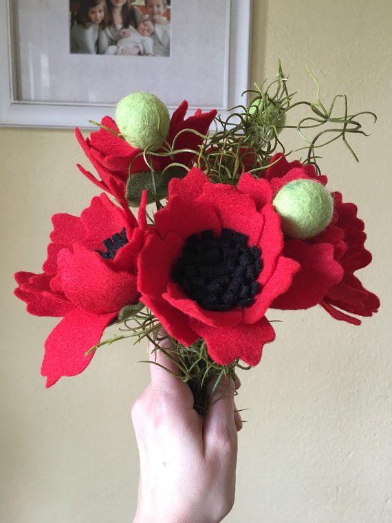Handmade Felt Poppy Flower Bouquet by ElleandLu on Etsy   Elle & Lu ...