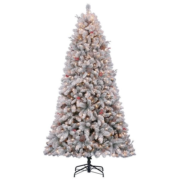 shop holiday living 75 ft pre lit preston pine full flocked artificial christmas tree - Full Artificial Christmas Trees