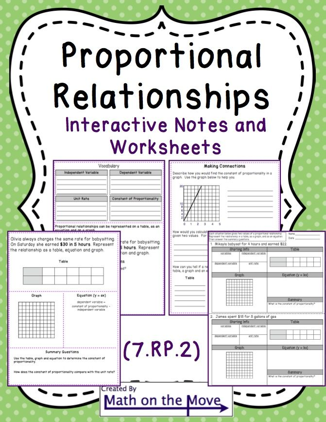 Proportional Relationships (tables, graphs, equations) - Notes/Practice (7.RP.2)