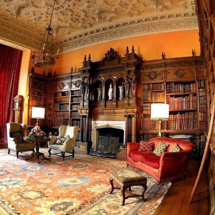 Victorian Library Room: Residencias Historicas.: Arley Hall …
