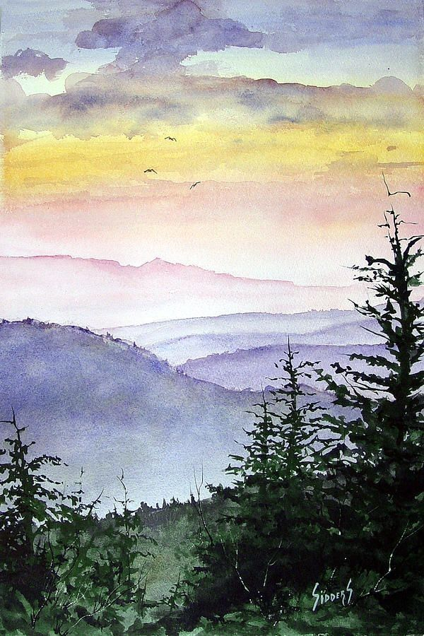 Landscape Mountains Original Watercolor Art Print Watercolor
