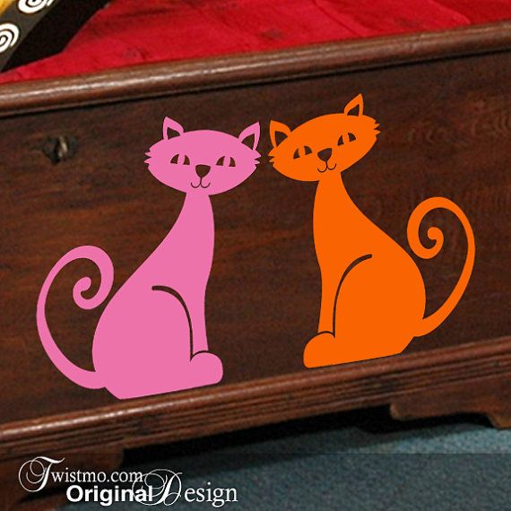 Vinyl Wall Decals Animal Decal 2 Kittens Cats with by Twistmo, $28.00