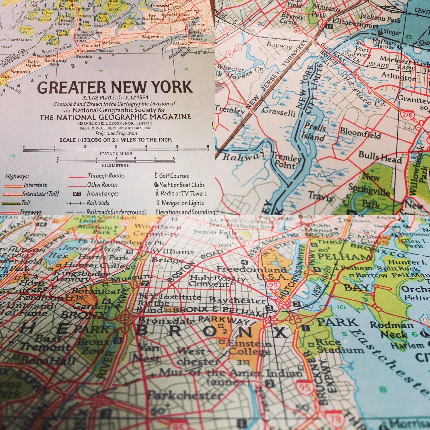 Map Of Greater New York City.New Listing Vintage 1964 Greater New York Tourist Manhattan Map