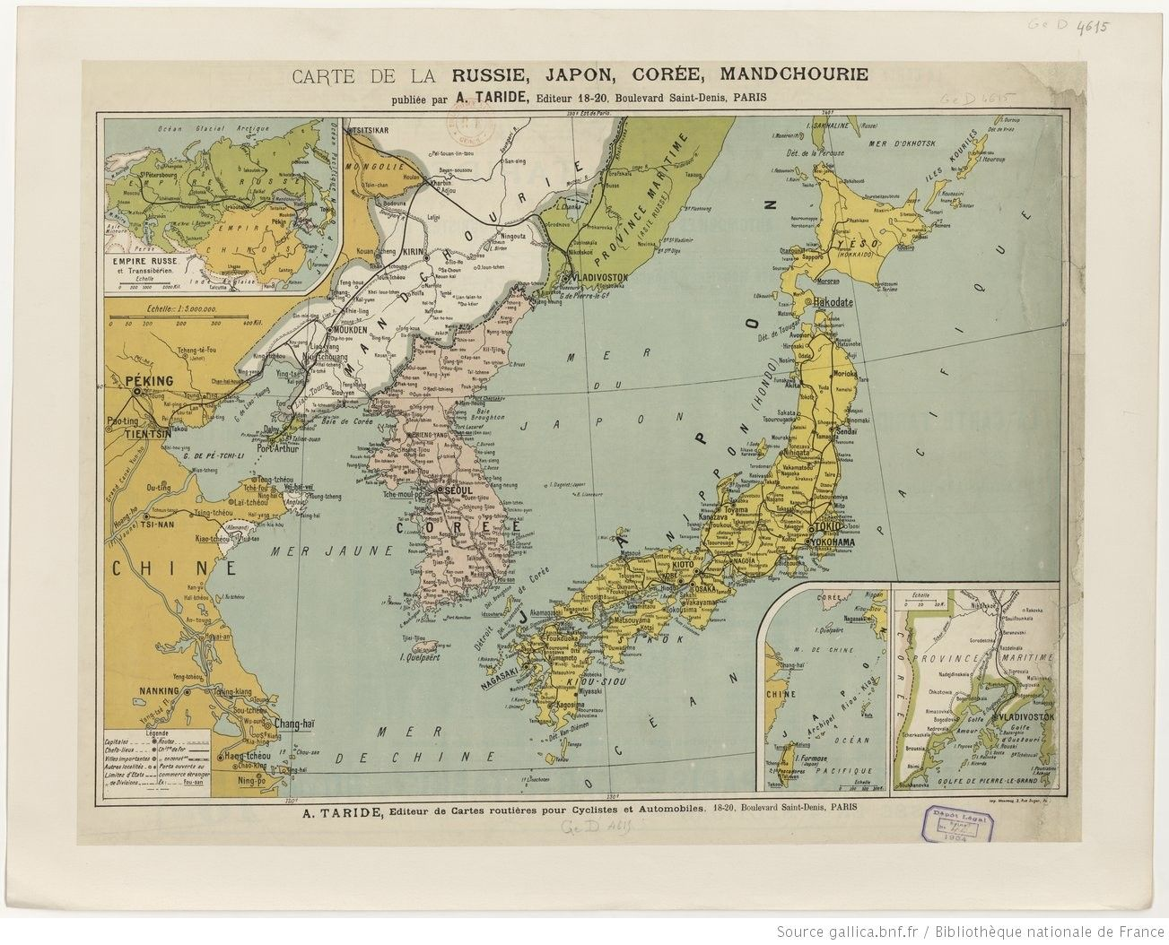 Vintage French map Russia Japan Korea and