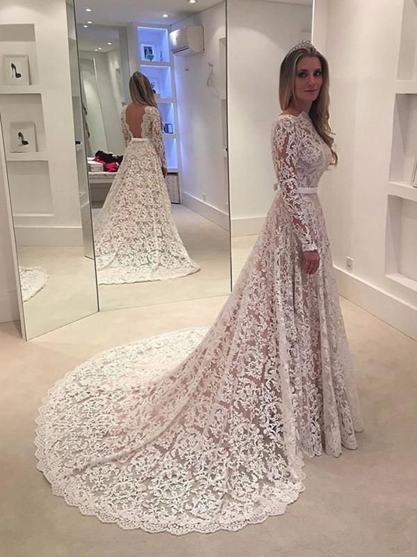 Long Sleeve Wedding Dresses Sweep Train A Line Lace Chic Open Back Bridal Gown Jkw216 Lace Wedding Dresses Uk Backless Lace Wedding Dress Wedding Dress Sleeves