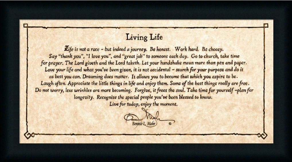 Living Life By Bonnie Mohr Life Is Not A Race But Indeed A Journey