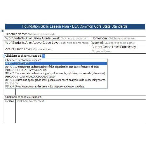 Ela Grades K Common Core Lesson Plan Templates Includes All