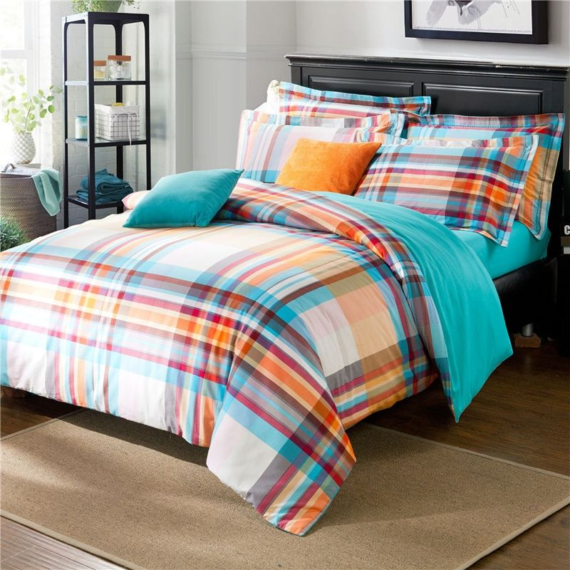 Aqua Blue Orange And White Fashion Tartan Plaid Print Bright Colorful Cute And Traditional Full Queen Size Bedding Sets Mens Bedding Sets Blue Comforter Sets