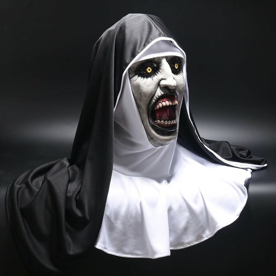 Cosplay The Conjuring 2 Nun Latex Costume Horror Mask Headgear Halloween Party
