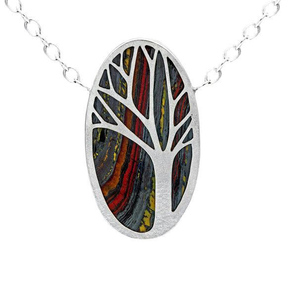 Silver and tiger iron tree pendant READY by ElinorCambrayDesigns