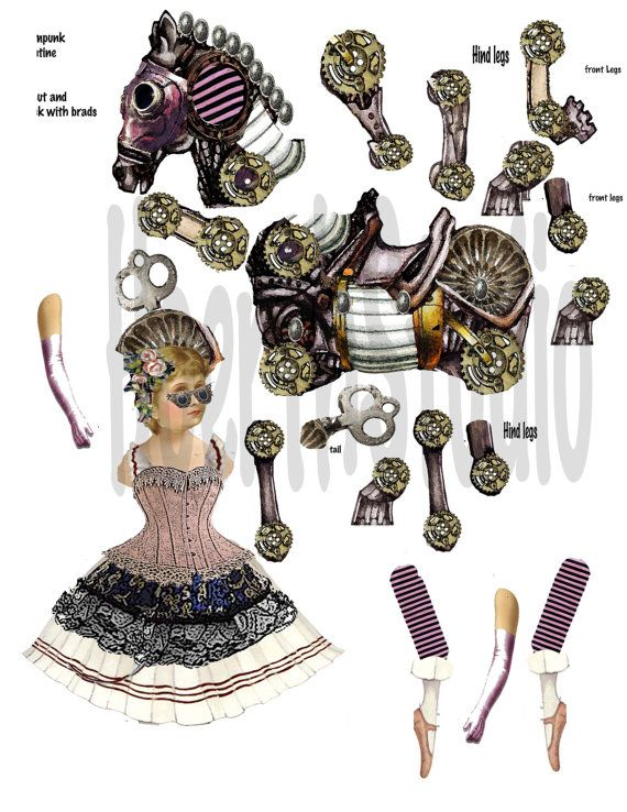 printable vintage Circus paper doll Steampunk ballerina articulated