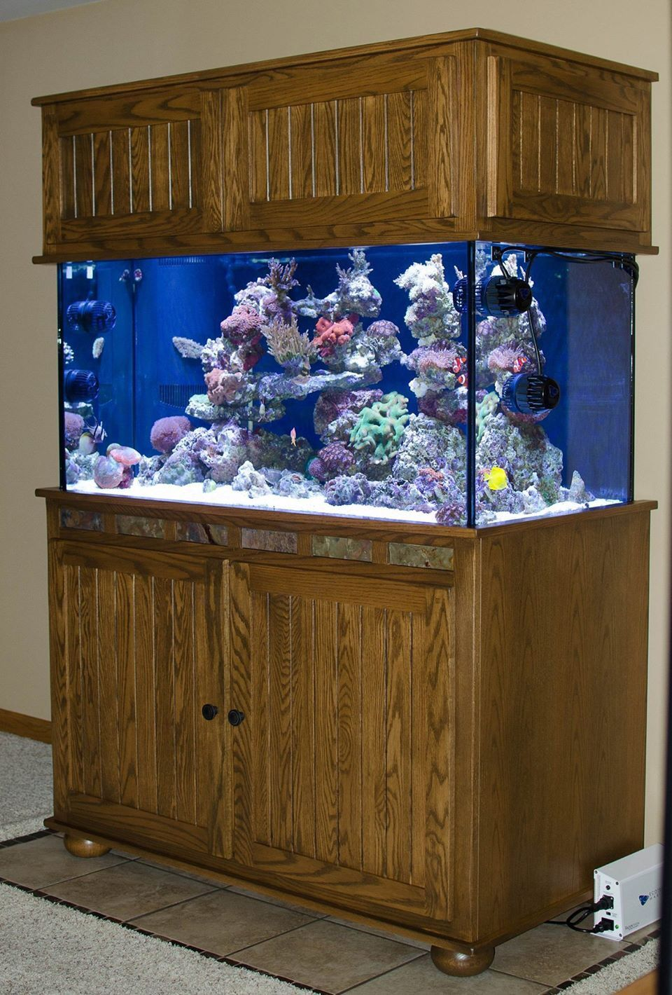 Red Oak Tank Stand With Slate Tile And Stainless Steel Frame For Support Fish