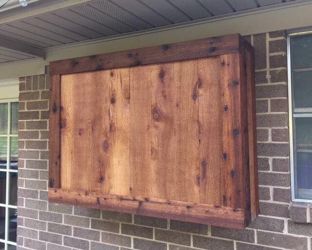 outdoor tv cabinet made of rough cedar lumber cedar creek woodworks in 2019 outdoor tv. Black Bedroom Furniture Sets. Home Design Ideas