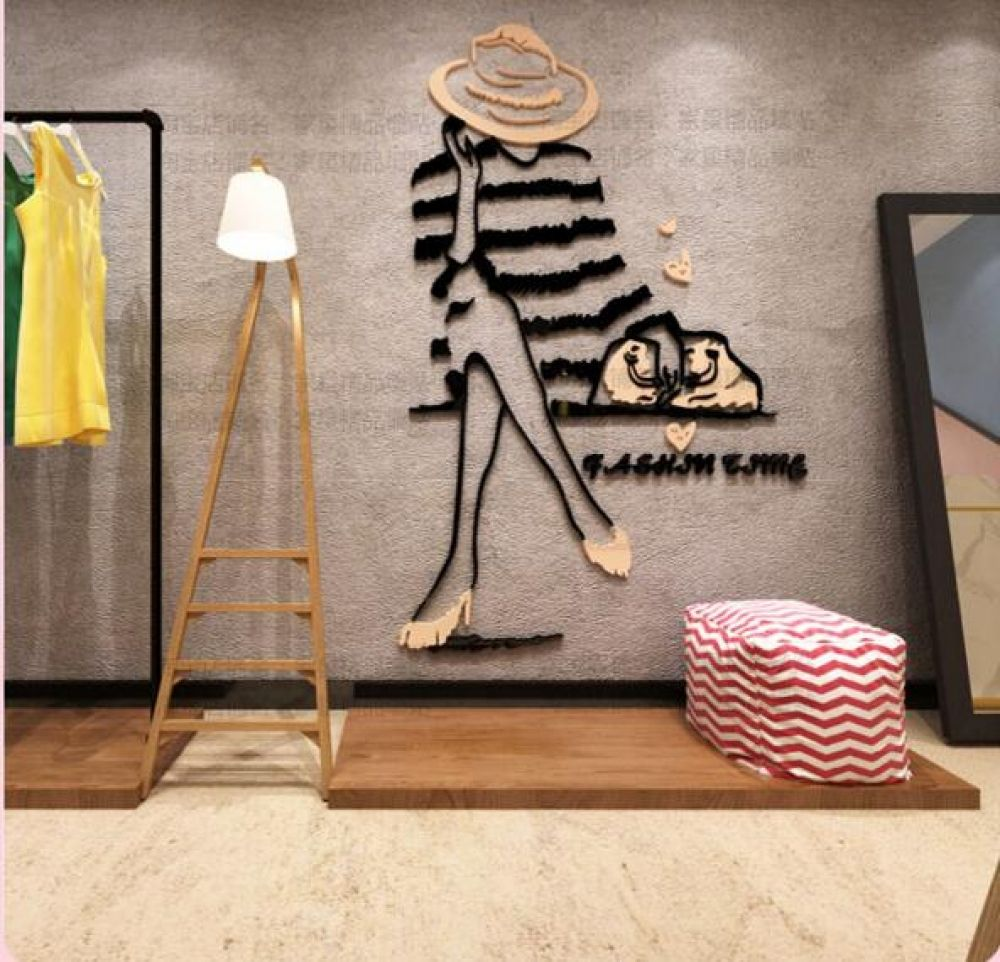 diy 3d non toxic acrylic fashion girl wall sticker on wall stickers for home id=75647