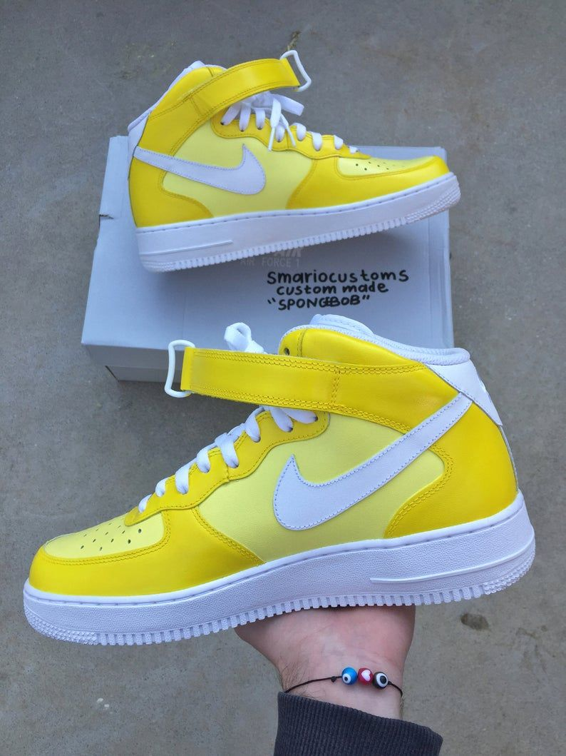 Custom Nike Air Force 1 Spongebob Custom Shoes Hand | Etsy ...