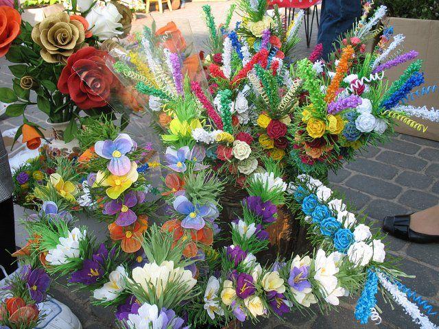 Palmy Kurpiowskie Paper Flowers Easter Spring Floral Wreath