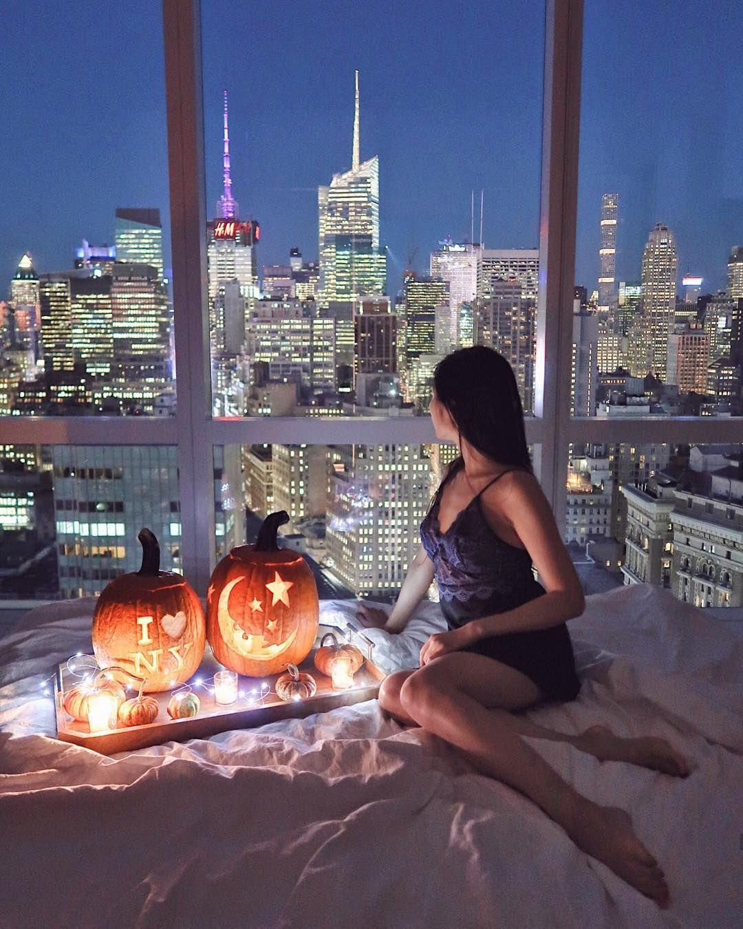 New York City Apartment View Night