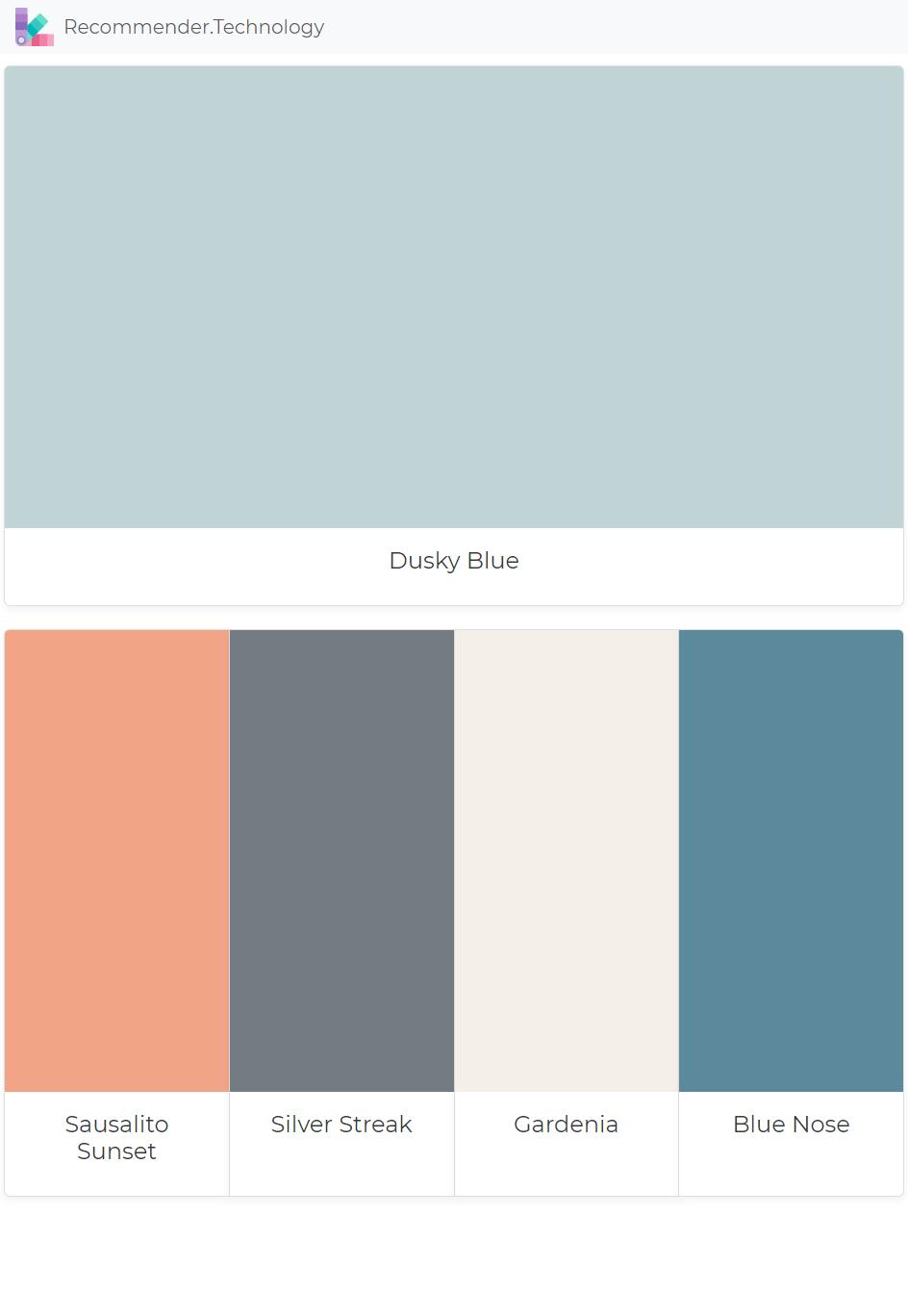 Dusky Blue Sausalito Sunset Silver Streak Gardenia Blue Nose Dusky Blue Blue Bedroom Colors Sunset Palette