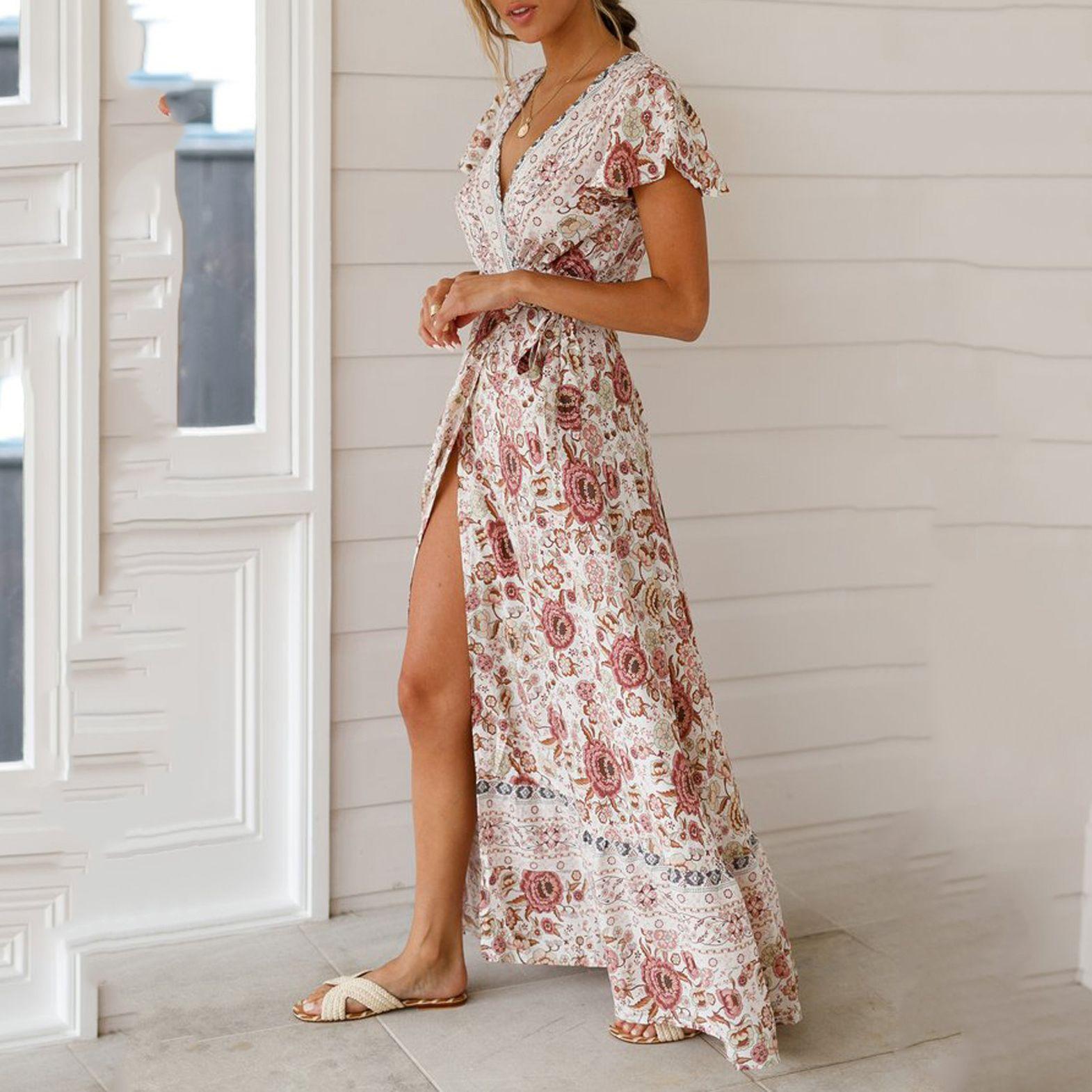 Bohemian Big Pendulum V Neck Beach Holiday Tie Printing Dresses Casual Boho Boho Dress Maxi Dress [ 1570 x 1570 Pixel ]