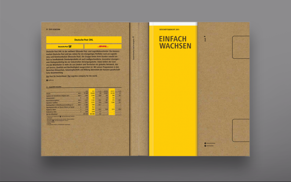 Deutsche Post Annual Report 2011.   I really like cardboard, it contrasts nicely with the Post yellow.