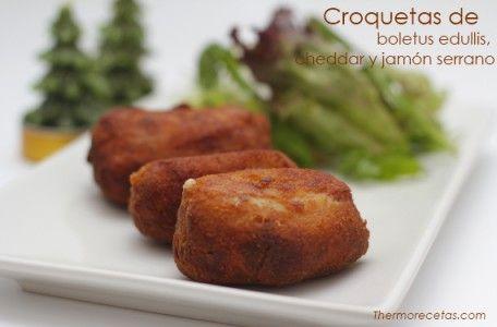 Cremosas croquetas de boletus, cheddar y jamón serrano