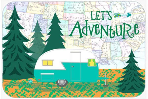 Let's Adventure Glamping Trailer Glass Cutting Board