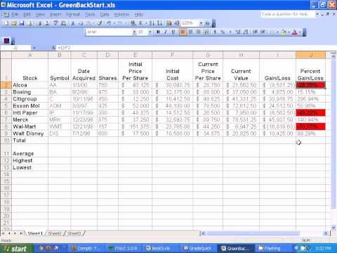 20) Microsoft Excel - Setting up Stocks Spreadsheet - YouTube JCL
