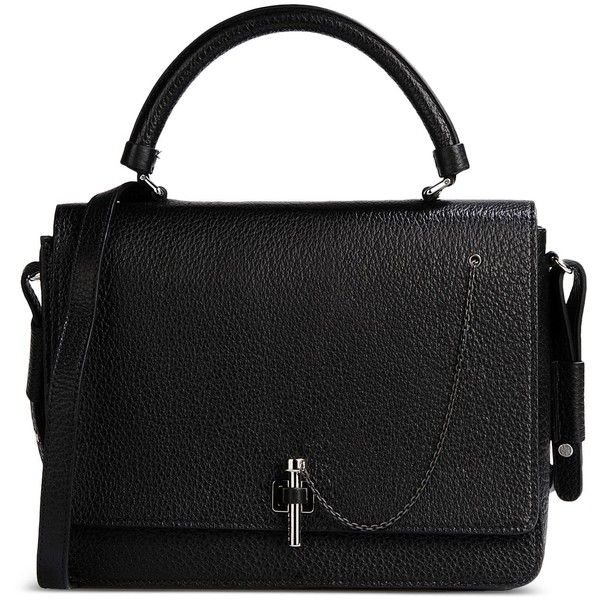 Carven Medium Leather Bag (1,735 PEN) ❤ liked on Polyvore featuring bags, handbags, shoulder bags, black, black handbags, black shoulder bag, 100 leather handbags, leather handbags and leather shoulder bag