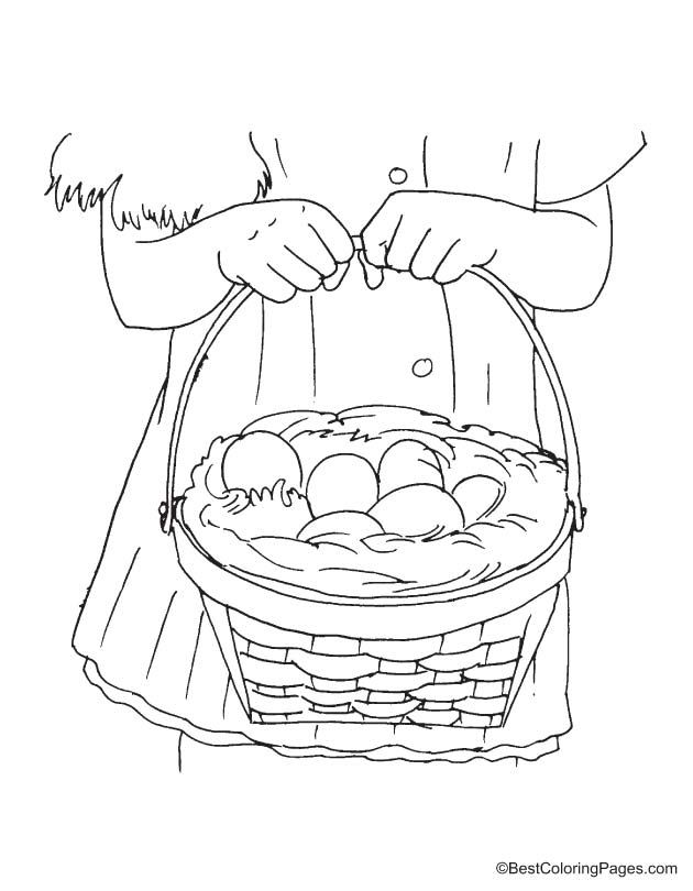 Easter Basket Coloring Page Download Free Girl Holding Easter Basket ...