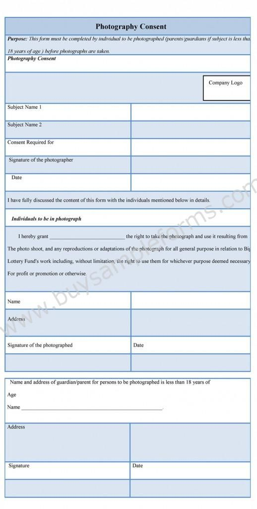 Photography consent form is produced when one uses photography of - consent form