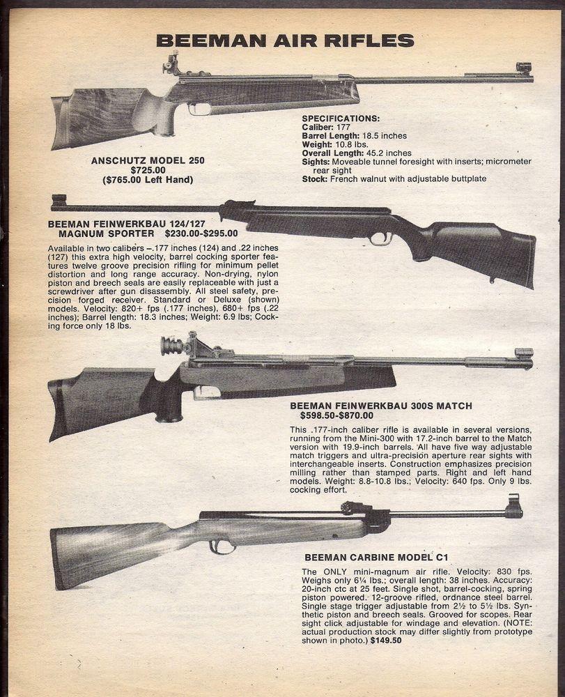 1983 BEEMAN Anschutz Model 250 Feinwerkbau 124/127 3005