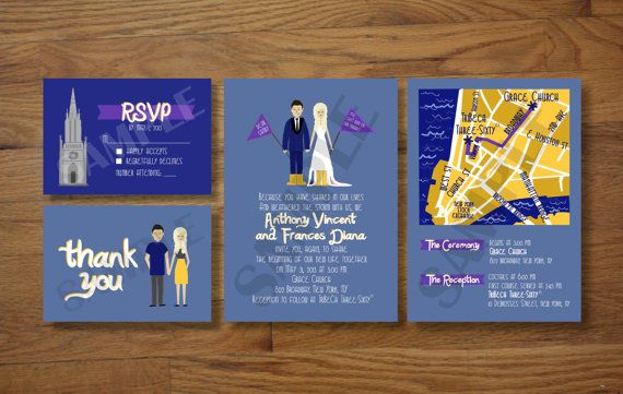 Custom Illustrated Wedding Invitations by chicksnhens on Etsy
