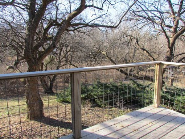 Wire lattice deck railing. This striking yet inexpensive