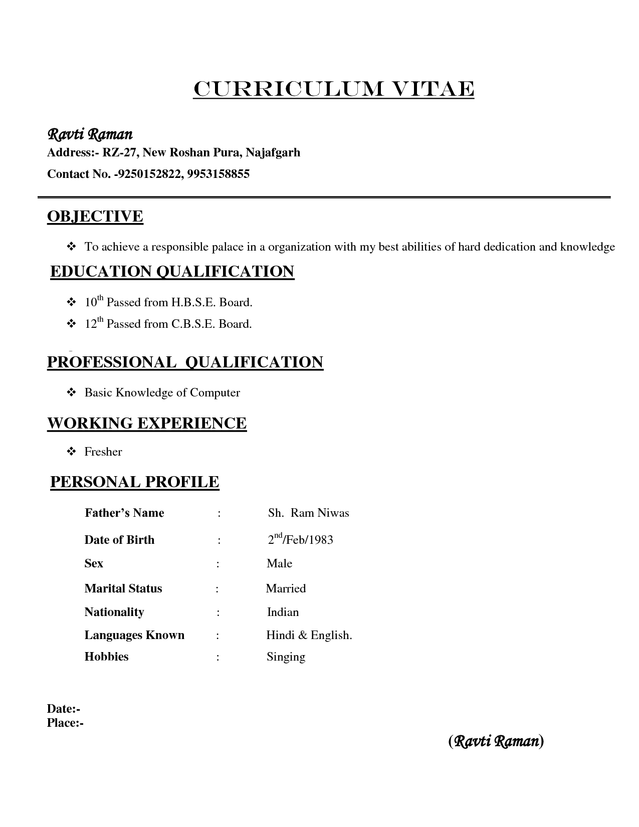 Basic Resume Format For Freshers Sample Downloads Professional