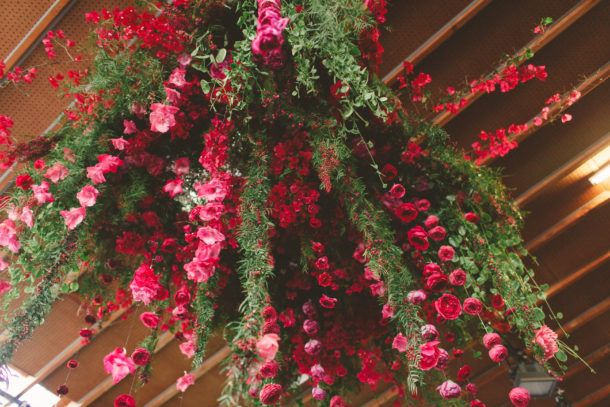 hanging floral chandelier; wedding by all you need is love events